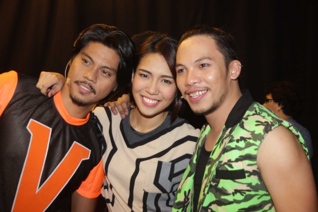 from left: Jerald Napoles (Tolits) , Aicelle Santos (Aileen) and Poppert Bernadas (Kenny). RAK OF AEGIS is a musical based on the hits of 90's band AEGIS. It will run from January 31 to March 9, 2014 at the PETA Theater Center. Photo by Jude Bautista