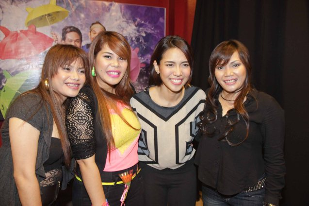 AEGIS from left: Mercy Sunot, Ken Sunot, RAK OF AEGIS lead star Aicelle Santos (Aileen) and Juliet Sunot. RAK OF AEGIS is a musical based on their hits. It will run from January 31 to March 9, 2014 at the PETA Theater Center. Photo by Jude Bautista