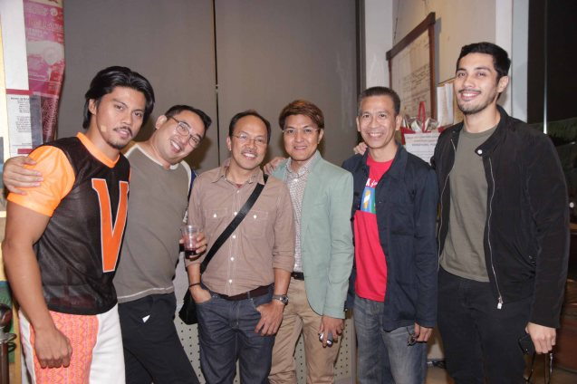 from right: Gian Magdangal, Ibarra Mateo, Vincent De Jesus, Noel Cabangon, Melvin Lee and Jerald Napoles (Tolits). RAK OF AEGIS is a musical based on the hits of 90's band AEGIS. It will run from January 31 to March 9, 2014 at the PETA Theater Center. Photo by Jude Bautista
