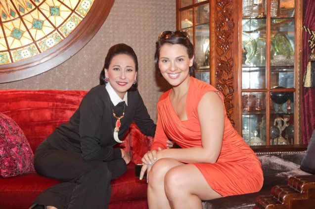 from left: FULL GALLOP cast mates Cherie Gil and Giselle Tongi photographed in Salon De Ning, The Peninsula Manila. Cherie plays style doyenne Diana Vreeland in FULL GALLOP by MY OWN MANN Prod. running from March 14-23, 2014 at the Carlos P Romulo Auditorium, RCBC Plaza. Photo by Jude Bautista