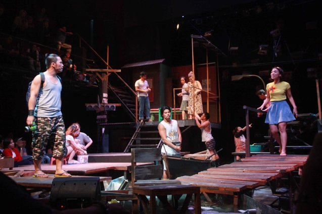 the multilayered set shows a neighborhood in a small space. RAK OF AEGIS is a musical based on the hits of 90's band AEGIS. It will run from January 31 to March 9, 2014 at the PETA Theater Center. Photo by Jude Bautista