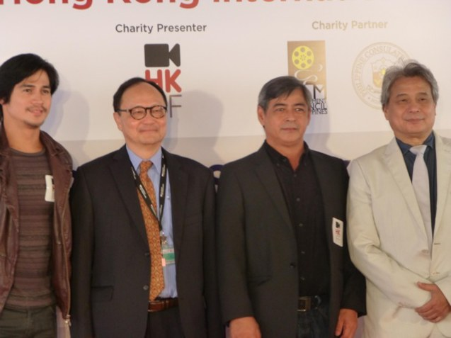 At the Red Carpet Opening Ceremony, (L to R): Piolo Pascual, HKIFF Executive Director Roger Garcia, Joel Torre, and FDCP Chairman Briccio Santos. Photo provided by FDCP.