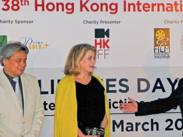 FDCP Chairman Briccio Santos and Catherine Deneuve at the Red Carpet Ceremony of the Philippines Day. Photo provided by FDCP.
