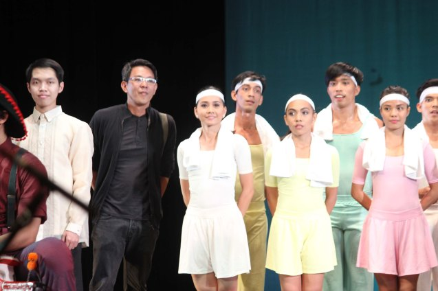 2nd from left in black: Ballet Phil Artistic Dir. Paul Alexander Morales with Ballet Phil dancers. Photo taken during PASINAYA festival in CCP. The 10th edition expanded to the National Museum and Metropolitan Museum and other establishments last March 16, 2014. Photo by Jude Bautista