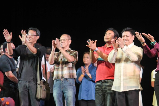 from left: Ballet Phil Artistic Dir. Paul Alexander Morales, Tanghalang Pilipino Artistic Dir Nanding Josef, Teatro Lasalliano Artistic Dir Nazer Salcedo and MADZ Musical Director Mark Anthony Carpio. Photo taken during PASINAYA festival in CCP. The 10th edition expanded to the National Museum and Metropolitan Museum and other establishments last March 16, 2014. Photo by Jude Bautista