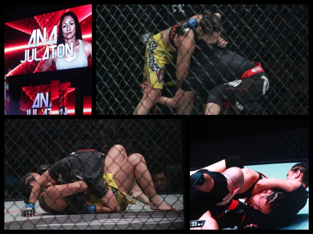 Saber gets takedown in the first and in the second round locks in a deadly guillotine on Ana Julaton. The historic fight was during ONE FC: Rise of Heroes at the Mall of Asia Arena last May 2, 2014.