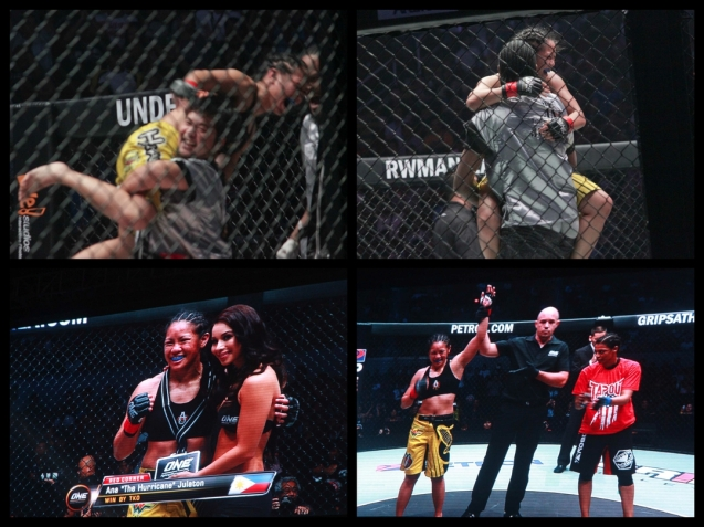 top left: Trainer Angelo Reyes carries Julaton in jubilation, Ronnie Turiaf does the same before her hand was raised. The historic fight was during ONE FC: Rise of Heroes at the Mall of Asia Arena last May 2, 2014