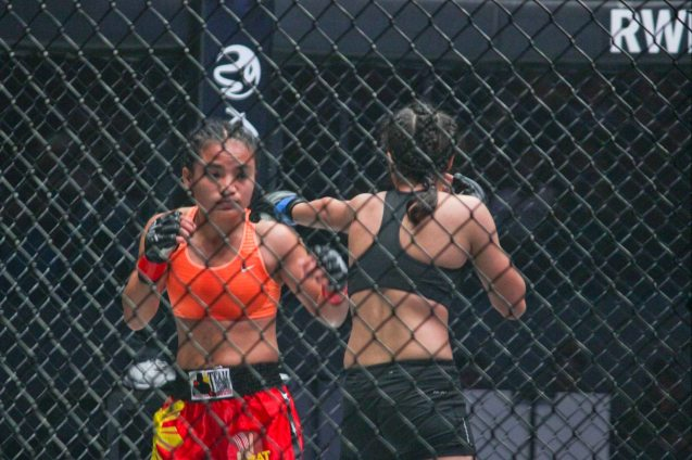 left: Pinay fighter Jujeath Nagaowa overwhelmed Jeet Toshi of India w a barrage of punches to the body, FPJ style. Referee Oliver Coste had to stop the fight. The historic fight was during ONE FC: Rise of Heroes at the Mall of Asia Arena last May 2, 2014. Photo by Jude Bautista