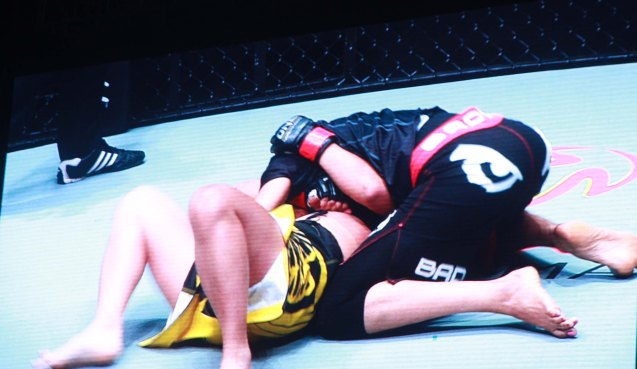 Aya Saeid Saber lands on top of Julaton on Resort's World logo and lands ground & pound early in the fight. The historic fight was during ONE FC: Rise of Heroes at the Mall of Asia Arena last May 2, 2014. Photo is from screen grab of ONE FC video.