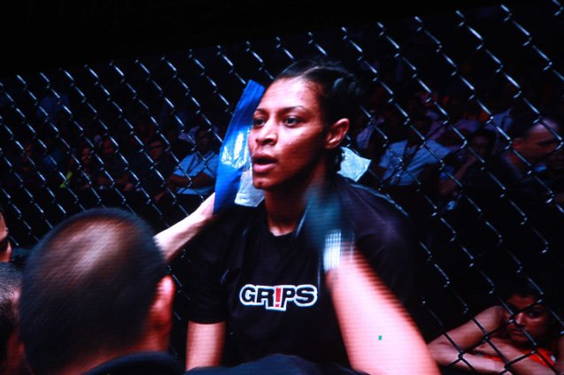 Aya Saeid Saber was looking better in between rounds. The historic fight was during ONE FC: Rise of Heroes at the Mall of Asia Arena last May 2, 2014. Photo is from screen grab of ONE FC video.