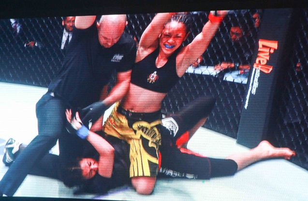 Ref Oliver Coste pulls Ana Julaton off Aya Saeid Saber to stop vicious ground and pound earning Julaton the TKO win. The historic fight was during ONE FC: Rise of Heroes at the Mall of Asia Arena last May 2, 2014.