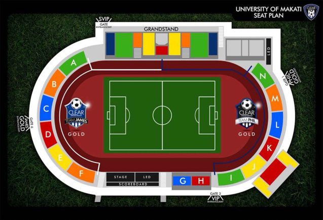 Map of University of Makati Stadium seat sections for CLEAR DREAM match. Photo from official CLEAR facebook page. https://www.facebook.com/ClearPH?fref=photo