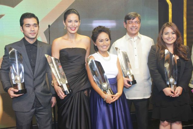 from right: Best Director Hannah Espia (TRANSIT), Best Actor Joel Torre (OTJ), Best Actress Angeli Bayani (NORTE HANGGANANA NG KASAYSAYAN), Best Supporting Actress Angel Aquino (ANG HULING CHACHA NI ANITA) and Best Supporting Actor Junjun Quintana (A PHILIPPINO STORY). The 37th Gawad Urian Awards was held at the Dolphy Theater last June 17, 2014. Photo by Jude Bautista.