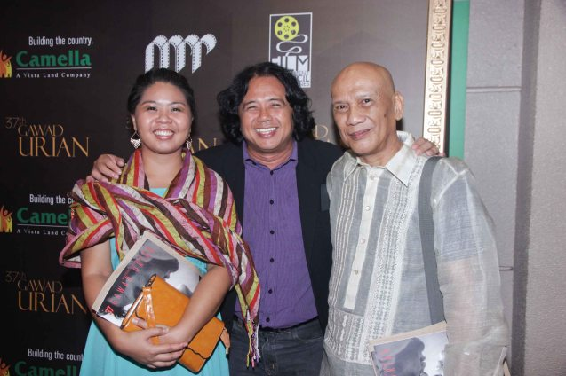 Nominees from right: Best Director, Best Screenplay, Best Music Armando 'Bing' Lao (DUKIT), filmmaker Arnel Mardoquio and Kei Tan of RIDDLES OF MY HOMECOMING which won Best Editing- Chuck Gutierrez. The 37th Gawad Urian Awards was held at the Dolphy Theater last June 17, 2014. Photo by Jude Bautista.