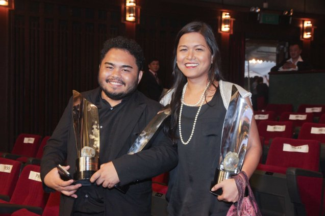 2nd Assistant Director Lir dela Cruz and Line Producer Maya Quirino represented Lav Diaz as NORTE SA HANGGANAN NG KASAYSAYAN won Best Picture, Best Actress (Angeli Diaz), Best Screenplay (Lav Diaz and Rody Vera) and Best Cinematography (Lauro Rene Manda). The 37th Gawad Urian Awards was held at the Dolphy Theater last June 17, 2014. Photo by Jude Bautista