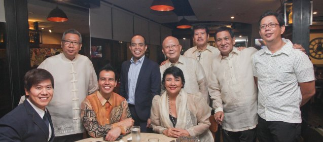 Manunuri ng Pelikulang Pilipino seated from left: Phl Star Columnist Butch Francisco, Dr. Mike Rapatan, Dr. Grace Javier Alfonso standing from left: Dr Nick Tiongson , Head of Cinema One and Velvet channels Ronald Arguelles, Ntl Artist for Literature Bien Lumbera, Mario Hernando, Tito Valiente and Dr. Roland Tolentino. The 37th Gawad Urian Awards was held at the Dolphy Theater last June 17, 2014. Photo by Jude Bautista.