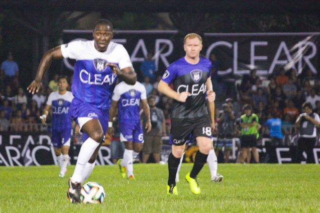 Andy Cole runs past Paul Schole behind them is Simon Greatwich. THE CLEAR DREAM MATCH was held at the sold out University of Makati Stadium last June 7, 2014. Photo by Jude Bautista