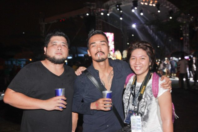 KJWAN from left: Kelley Mangahas and Marc Abaya with French Press Attache Camille Conde at the Plaza Maestranza Intramuros stage. Fete Dela Musique 2014 had 200 acts in more than 20 different locations last June 21, 2014. Photo by Jude Bautista