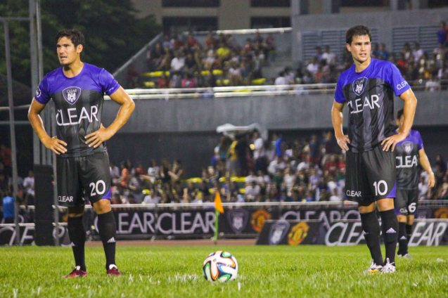 TEAM PHIL from left: Mark Hartmann and Phil Younghusband wait before the free kick. THE CLEAR DREAM MATCH was held at the sold out University of Makati Stadium last June 7, 2014. Photo by Jude Bautista