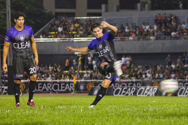 TEAM PHIL from left: Mark Hartmann looks at Phil Younghusband taking the free kick. THE CLEAR DREAM MATCH was held at the sold out University of Makati Stadium last June 7, 2014. Photo by Jude Bautista