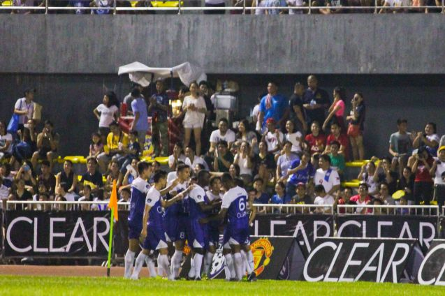 TEAM JAMES celebrates their goal near fans. THE CLEAR DREAM MATCH was held at the sold out University of Makati Stadium last June 7, 2014. Photo by Jude Bautista