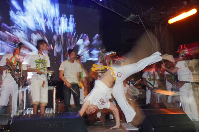 KADARA CAPOEIRA shows their kicks and handstands at the A Venue stage. Fete Dela Musique 2014 had 200 acts in more than 20 different locations last June 21, 2014. Photo by Jude Bautista