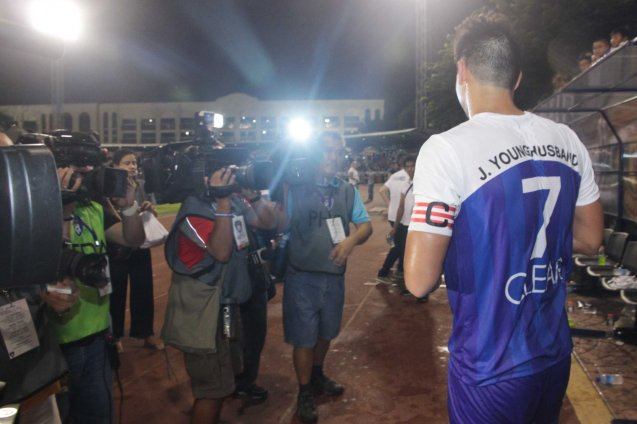 James Younghusband is hounded by the media. THE CLEAR DREAM MATCH was held at the sold out University of Makati Stadium last June 7, 2014. Photo by Jude Bautista