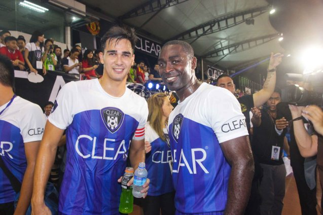 from left: James Younghusband said it was a privilege to play with Man U legend Andy Cole. THE CLEAR DREAM MATCH was held at the sold out University of Makati Stadium last June 7, 2014. Photo by Jude Bautista