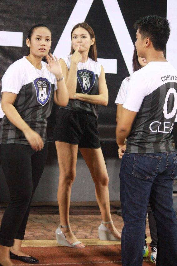 The sexiest legs belong to Unilever's Head of PR for Personal Care and supermodel Apples Aberin. THE CLEAR DREAM MATCH was held at the sold out University of Makati Stadium last June 7, 2014. Photo by Jude Bautista