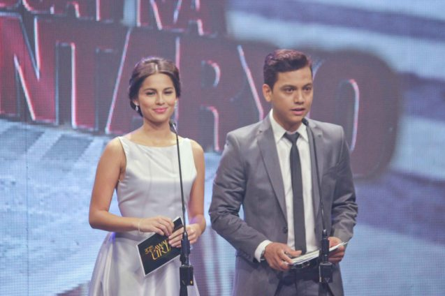 Jasmine Curtis Smith (TRANSIT) is also TV5's JASMINE. Beside her is Archie Alemania (NORTE HANGGANAN NG KASAYSAYAN). The 37th Gawad Urian Awards was held at the Dolphy Theater last June 17, 2014. Photo by Jude Bautista.
