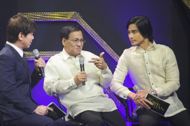 Manunuri ng Pelikulang Pilipino members from left: Butch Francisco, Tito Valiente and Host Piolo Pascual (OTJ). The 37th Gawad Urian Awards was held at the Dolphy Theater last June 17, 2014. Photo by Jude Bautista.