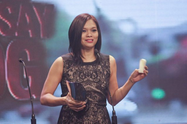 Corinne de San Jose (Best Sound--OTJ) during the 37th Gawad Urian Awards held at the Dolphy Theater last June 17, 2014. Photo by Jude Bautista.