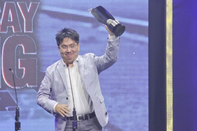 Chuck Gutierrez (Best Editing- RIDDLES OF MY HOMECOMING) during the 37th Gawad Urian Awards held at the Dolphy Theater last June 17, 2014. Photo by Jude Bautista.