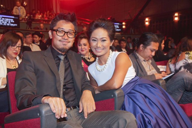 Karl Medina with Best Actress Angeli Bayani (NORTE HANGGANAN NG KASAYSAYAN). Angeli is wearing a design by Tatah Galias. The 37th Gawad Urian Awards was held at the Dolphy Theater last June 17, 2014. Photo by Jude Bautista.