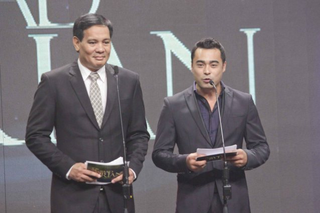 from left: Best Supporting Actor nominee Joey Marquez (OTJ) and Best Actor nominee Sid Lucero (NORTE HANGGANAN NG KASAYSAYAN). The 37th Gawad Urian Awards was held at the Dolphy Theater last June 17, 2014. Photo by Jude Bautista.