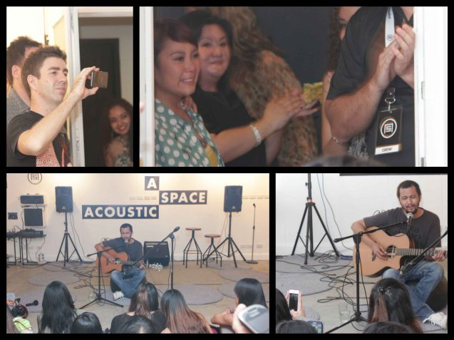 Top right: Aya Yuson is moved to tears after Johnoy Danao dedicates an IMAGO song to her at A_ Space Acoustic lounge. Fete Dela Musique 2014 had 200 acts in more than 20 different locations last June 21, 2014. Photo by Jude Bautista