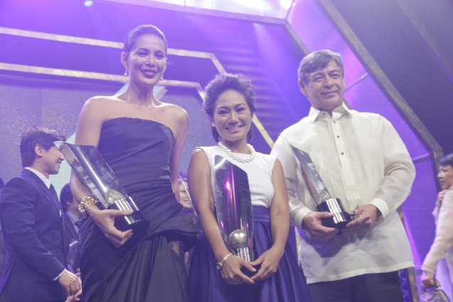 from right: Best Actor Joel Torre (OTJ), Best Actress Angeli Bayani (NORTE HANGGANAN NG KASAYSAYAN) and Best Supporting Actress Angel Aquino (ANG HULING CHACHA NI ANITA). Angeli Bayani is in 2 Cinemalaya X movies: BWAYA and RONDA.  The 37th Gawad Urian Awards was held at the Dolphy Theater last June 17, 2014. Photo by Jude Bautista.