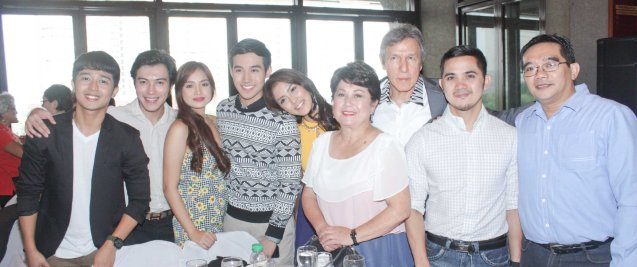 1ST KO SI 3RD cast from left: Co producer/actor RJ Agustin, Producer Vian Seranilla, Denise Barbaceña, Ken Chan, Coleen Borgonia, Nova Villa, former Senator Freddie Webb, director Real S. Florido and Dennis Marasigan. Cinemalaya X running from August 1-10, 2014 in CCP will have satellite venues: Greenbelt, Alabang Town Center, Trinoma and Fairview Terraces. Photo by Jude Bautista.