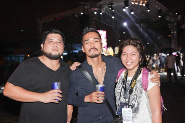 KJWAN from left: Kelley Mangahas and Marc Abaya with French Press Attache Camille Conde at the Plaza Maestranza Intramuros stage. Marc Abaya is in Cinemalaya film SUNDALONG KANIN. Fete Dela Musique 2014 had 200 acts in more than 20 different locations last June 21, 2014. Photo by Jude Bautista