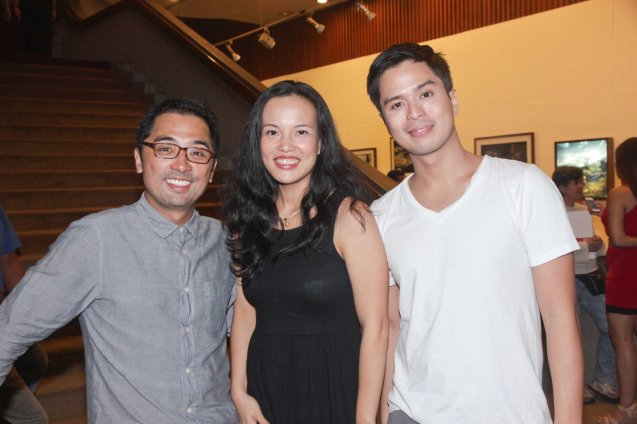 from left: Rem Zamora, Che Ramos and Topper Fabregas during the Gawad Buhay, Philstage awards. Che Ramos is in MARIQUINA and SUNDALONG KANIN. Cinemalaya X running from August 1-10, 2014 in CCP will have satellite venues: Greenbelt, Alabang Town Center, Trinoma and Fairview Terraces. Photo by Jude Bautista.