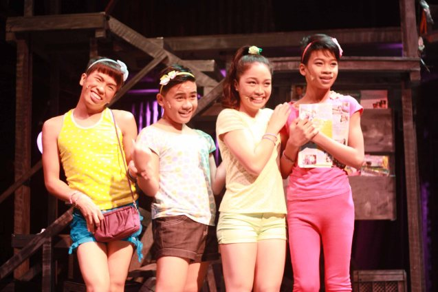 from left: Nar (Aaron Ching), Leslie (Nomer Limatog Jr.), Monique (Teetin Villanueva) and Maxie (Jayvhot Galang). MAXIE THE MUSICAL ran from Nov 9-Dec 8, 2013 at the PETA Theater Center. Photo By Jude Bautista