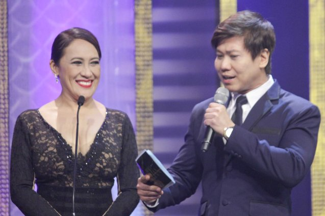 Ai ai Delas Alas of RONDA and MPP member Butch Francisco. The 37th Gawad Urian Awards was held at the Dolphy Theater last June 17, 2014. Photo by Jude Bautista.