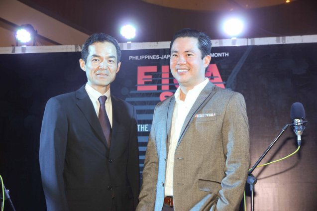 from right: AKIRA Co Owner & Managing Director Ricky Laudico and Japan Foundation Managing Dir Shuji Takatori at the Shang East Wing where the opening of Eiga Sai fest was held. The Eiga Sai Japanese Film Festival will screen films for free from July 4 to 13, 2014 at the Shang Cineplex, Shang Rila Plaza Mall. Photo by Jude Bautista