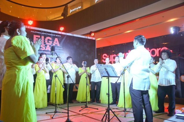 CORO TOMASINO performed Hana Wa Saku (Flowers Will Bloom) a Japanese song composed to raise funds for the Great East Earthquake. Photo was taken at the Shang East Wing where the opening of Eiga Sai fest was held. The Eiga Sai Japanese Film Festival will screen films for free from July 4 to 13, 2014 at the Shang Cineplex, Shang Rila Plaza Mall. Photo by Jude Bautista