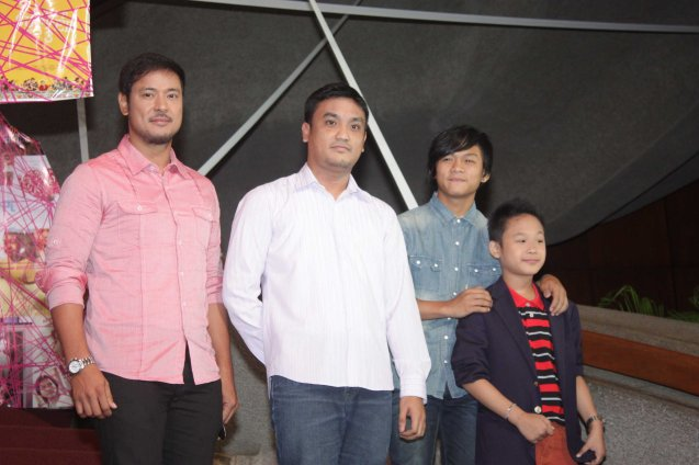CHILDREN'S SHOW stars from left: Allen Dizon, Director Derrick Gabrido, Buboy Villar & Miggs Cuaderno. Cinemalaya X running from August 1-10, 2014 in CCP will have satellite venues: Greenbelt, Alabang Town Center, Trinoma and Fairview Terraces. Photo by Jude Bautista.