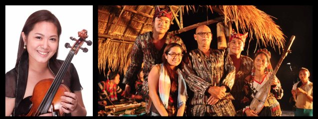 K'NA THE DREAMWEAVER from left: Screenwriter / Director Ida Anita del Mundo as musician and with cast Alex Medina, Bembol Roco, Nonie Buencamino and T'Boli woman. Actual T'Bolis played supporting roles to the main cast. Cinemalaya X running from August 1-10, 2014 in CCP will have satellite venues: Greenbelt, Alabang Town Center, Trinoma and Fairview Terraces.