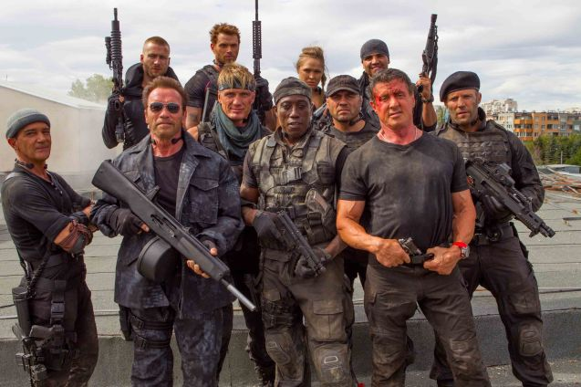 foreground from left: Antonio Banderas (Galgo), Arnold Schwarzenneger (Trench), Dolph Lundgren (Gunnar Jensen), Wesley Snipes (Doc), Randy Couture (Toll Road), Sly Stallone (Barney Ross) and Jason Statham (Lee Christmas) background from left: Glenn Powell (Thorn), Kellan Lutz (Smilee), Ronda Rousey (Luna) and Victor Ortiz (Mars). Catch EXPENDABLES3 in Resort's World Manila, Eastwood Mall and Lucky Chinatown Mall.