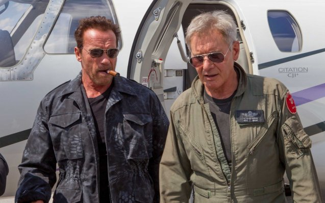 Two of the biggest stars in Hollywood from left: Arnold Schwarzennegger and Harrison Ford (Drummer). Catch EXPENDABLES3 in Resort's World Manila, Eastwood Mall and Lucky Chinatown Mall.