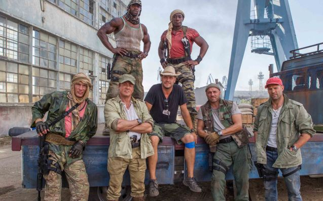 foreground from left: Dolph Lundgren(Gunnar Jensen), Sly Stallone(Barney Ross), director Patrick Hughes, Randy Couture(Toll Road),  background from left: Terry Crews (Hale Caesar) and Wesley Snipes (Doc). Catch EXPENDABLES3 in Resort's World Manila, Eastwood Mall and Lucky Chinatown Mall.