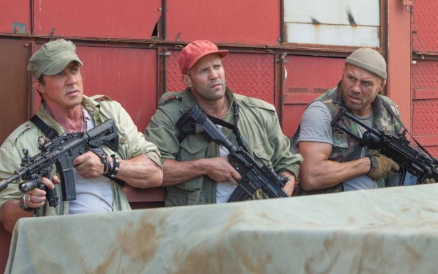 from left: Sly Stallone (Barney Ross), Jason Statham (Lee Christmas) and Randy Couture (Toll Road). Catch EXPENDABLES3 in Resort's World Manila, Eastwood Mall and Lucky Chinatown Mall.
